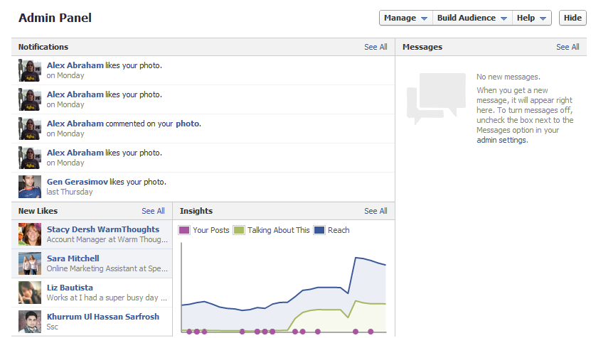 Facebook Timeline for Brands Admin Panel