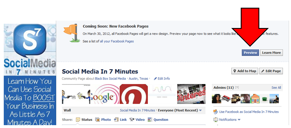 Facebook Timeline for Brands Preview Button